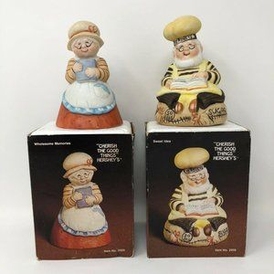 Vintage 1984 Hershey Hand Painted Bisque Bell Set